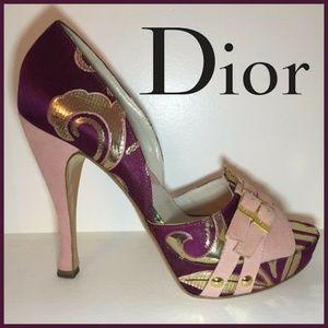 🆕 Christian Dior vintage D'orsay pink/gold heels